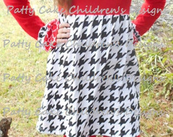 Patty Cake label - girls boutique ruffle outfit red & houndstooth - sizes 6, 7, 8, 10, 12, and 16