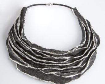 Necklace MATERIAL black and silver color