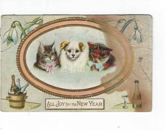 Victorian New Year Postcard, puppies & kittens greeting