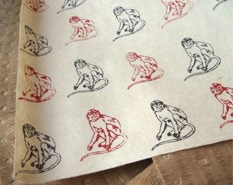 Red & Black Monkey Pattern Woodblock Printed Lokta Paper Sheet 20x30 inches