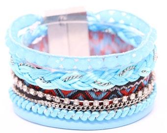 Blue Brazilian Bracelet - Multi Layer Bracelet - Wrap Bracelet - Woman Bracelet - Blue Bracelet - Summer bracelet - Colorful Bracelet