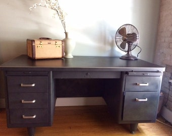 Industrial Vintage Steelcase Tanker Desk - Local Pickup ONLY