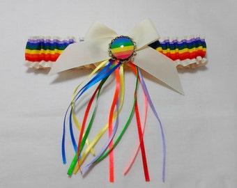 Gay pride  Bridal Wedding Garter.
