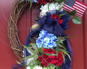 Wreath Red, White & Blue
