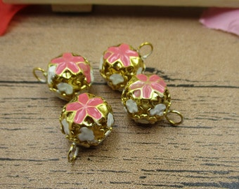 8 Enamel Bell Charms,Bell Pendant,Pink Color-RS294
