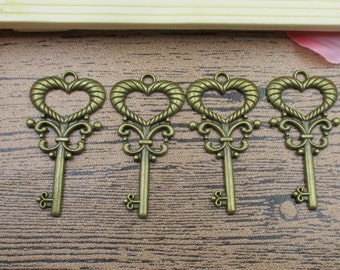 8 Key Charms ,Antique Bronze Tone With Love Heart-RS076