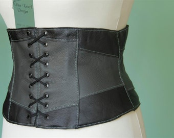 Light leather corset belt patchwork size 12/14(US) black and grey