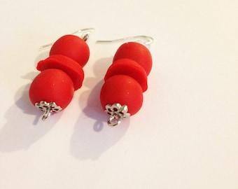 Red bead clay earrings