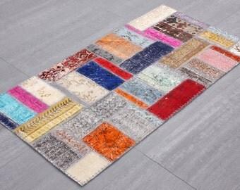 Turkish Patchwork Carpet ,Rug ,Carpet ,Anatolian Striped Patchwork -wool rug-Handmade,80x510=1.20 m2,P3447