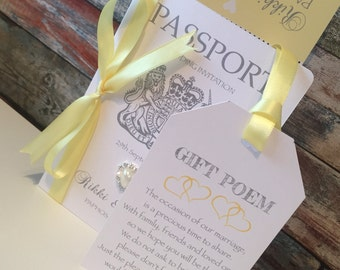Wedding Invitations - Passport and Boarding Card along with Luggage Tag Gift Poem