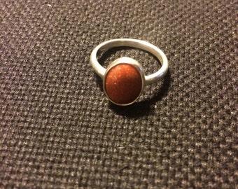 Silver ring with Golden sand (Avanturine) stone
