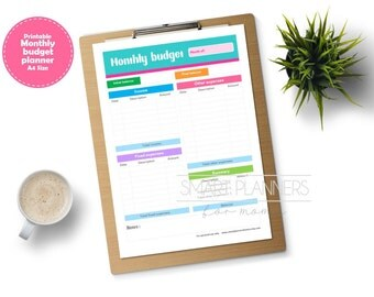 Monthly budget planner insert, printable. Month expenses register. A4 Size, Portrait. Instant download.