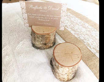 Wood - rustic wedding place card holder