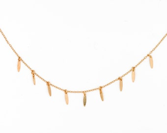 """Necklace """"spark"""", end mini shuttle gold, french-modern-minimalist"""