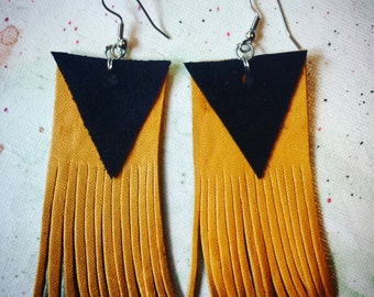 Black and Mustard Leather & Suede Geometric Fringe Earrings