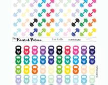 Dumbbells, Kettlebell, Water Bottle, Yoga Mat, Smart Watch, Running Shoe Rainbow colors, Workout Stickers