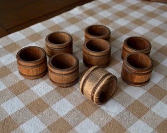 Rustic Wood Napkin Rings (Set of 8)
