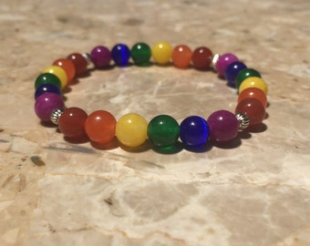 LGBT Pride Rainbow Bead Bracelet with Silver