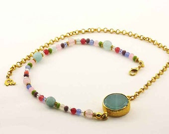 Turquoise and Crystals on Golden Chain