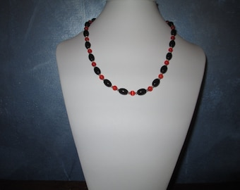 Black, Orange and silver necklace
