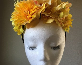 Sunshine yellow flower crown