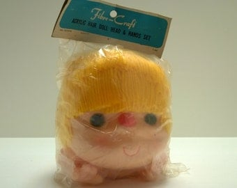 Packaged Fibre Craft 6 inch Yellow Yarn Hair Doll Heads with Hands New Old Stock