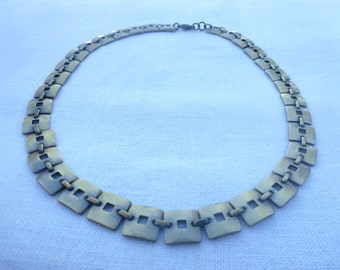 Swedish vintage brass necklace scandinavian designer jewelry
