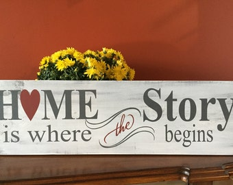 Home is where the story begins / Wood Signs / Wall Decor / Rustic / Home Decor