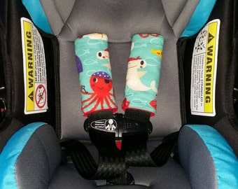 Carseat strap covers, stroller strap covers - under the sea