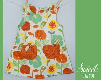 The Whitney - girls size 4 sundress, a-line, vintage, handmade