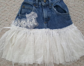 Jeans white lace up cycled girls skirt - precious!