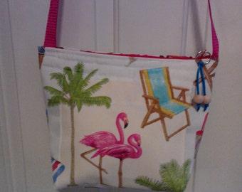 Flamingo Beach shoulder tote/purse.