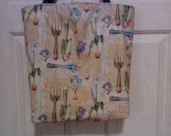 Garden tools print grocery shopping bag