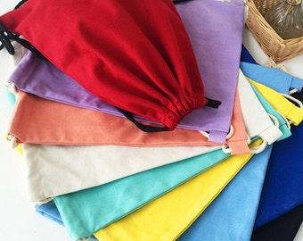 Basic Plain Color Draw String Bag