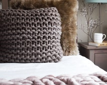 """Large 22"""" chunky knit pewter brown cushion - neutral knitted throw pillow - large square knitted throw cushion - Scandinavian modern cushion"""