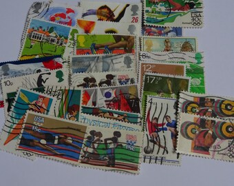 25 stamps Sports theme - paper stamps, paper ephemera, scrapbooking supplies