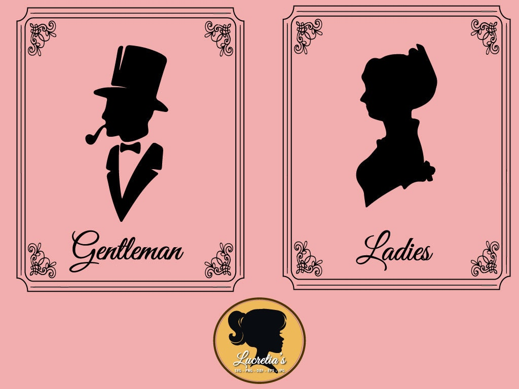 ladies and gentleman restroom sign svg dxf clipart svg. Black Bedroom Furniture Sets. Home Design Ideas