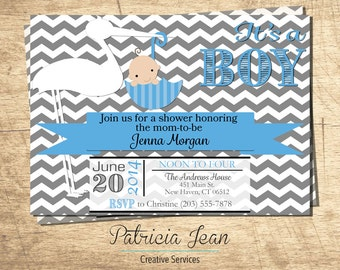 Chevron Stork Printable Baby Shower Invitation