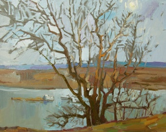 Spring on the River landscape by Armenian artist Mary Batmanyan Original Russian oil Painting