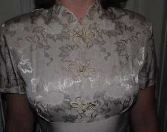 Vintage Beige Floral Scarlett Dress with buttons and a bow in the back