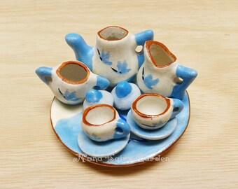 Colorful Tea Pot Set Ceramic Dollhouse, Miniature(Blue White)/10 Pcs.-Set