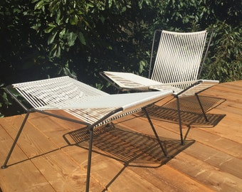 Iron and Rope Midcentury Modern Outdoor Patio Chair + Ottoman
