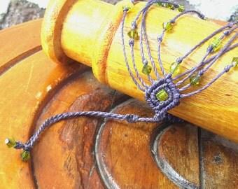 Bracelet purple and green beads
