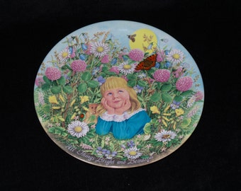 """1986 Davenport Treasury of Classic Children's Verse """"All Things Bright and Beautiful"""" Collector Plate by Linda Worrall"""
