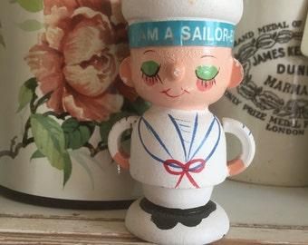 Vintage sailor wooden egg cup