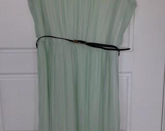 Mint Green Accordion-style sleeveless dress