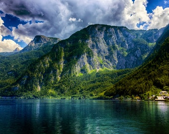 Mountains Surrounding Lake Hallstatt - Landscape Art Photography