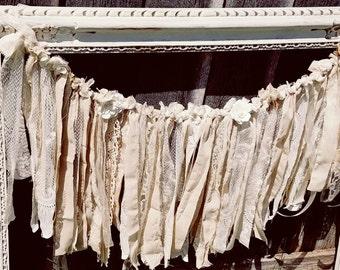 Shabby chic rustic wedding romantic lace bunting