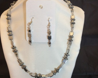 Necklace and Earrings:  Silver Constructed Elegance