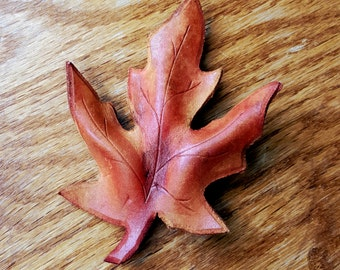 Leather Leaf Barrette - Fall Pointed Maple Leaf Large Hair Barrette - Leather Hair Accessory